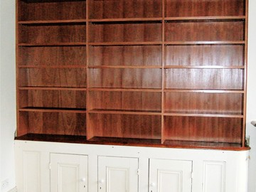 Mahogany Bookshelves with Victorian Cupboard Base