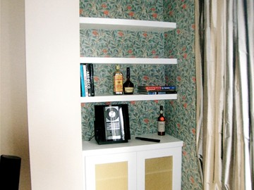 Brass Grilled Alcove Cupboard & Contemporary Shelving